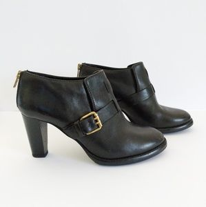 J. Crew 28664 Black Leather Ankle Boots Size 8.5